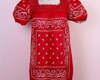 Handmade Bandana Dress Women-Small-Lace-100% Cotton-Red-Long Dress-Maxi-Festival-Boho-Hipster-Rockabilly-Bicker Chic-Vintage Fashion-Pinup
