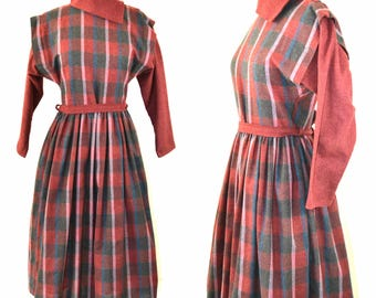 1970s/1980s Maroon, Green and Blue Plaid Dress, Dolman Sleeves