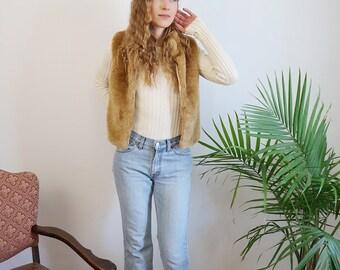 Golden Brown Faux Fur 90s Vest