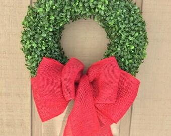 Christmas Boxwood Wreath, Winter Wreaths for Front Door, Holiday Wall Decor, Burlap Christmas, Xmas Decorations, Evergreen Wreath