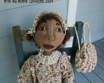 Large 48inchPrimitive  Folk Art Doll - Ida Mae - Mailed Pattern