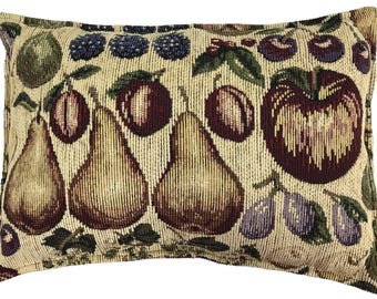 """Handmade Throw Pillow Cushion Tapestry with Fruit 15"""" x 11"""" Perfect for Thanksgiving and Holidays"""