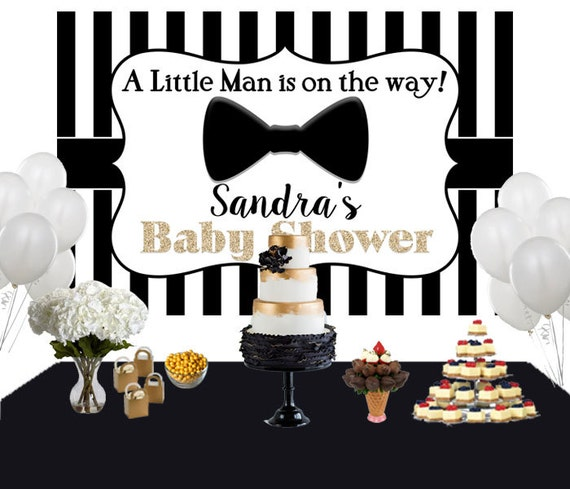 Little Man Personalized Backdrop Baby Shower Cake Table