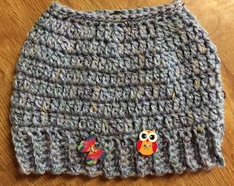 Child's Crocheted ponytail hat