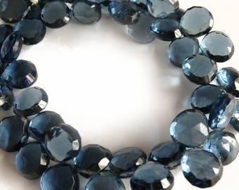 London blue quartz faceted briolettes.  Approx.10x10mm.   Select a quantity.