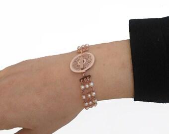 Sterling silver bracelet, Pearls bracelet, Dainty bracelet.