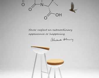 Science Art Biology Fleming Quote And Penicillin Molecule Vinyl Wall Decal For Your Lab Cl Room University