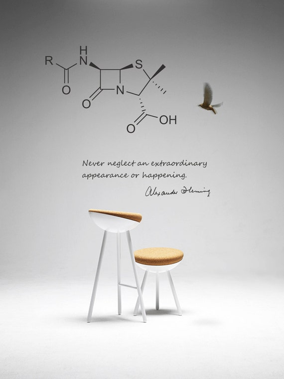 Science Art Biology Fleming Quote And Penicillin Molecule