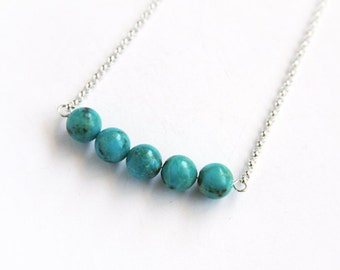 Turquoise Necklace Sterling Silver Genuine Kingman Turquoise Round Beads Gemstone Bar Necklace Silver Chain Simple Southwest Jewelry #16360