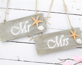 Mr & Mrs Chair Plaques, Mr and Mrs  Beach Wedding Plaques, MR and MRS Wedding Signs, Wedding Chair Signs, Photo Props, Wedding Photography