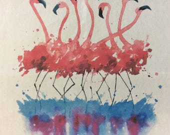 Dancing Flamingos Teatowel