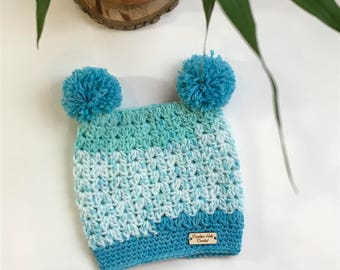 Pompom crochet hat newborn infant size