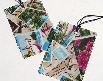 Luggage Tags, tropical fabric, Aqua, Pink,  Island Postcards, set of 2