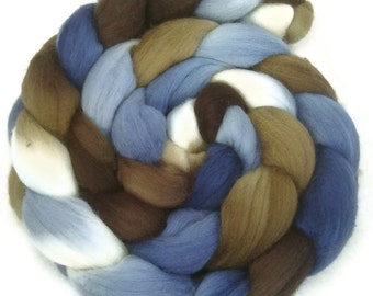Handpainted Polwarth Wool Roving - 4 oz. SANDPIPER - Spinning Fiber