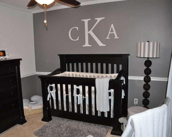 Monogram Wall Decal Large Monogram Wall Decal Personalized Decal Nursery Decal Bedroom Decal Vinyl Monogram Home Decor Home and Wall Decals