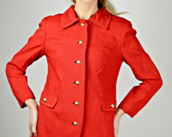 Linen Jacket, Red Jacket, 1960s Preppy Jacket, Summer Office Jacket, Size Small, Casual Jacket
