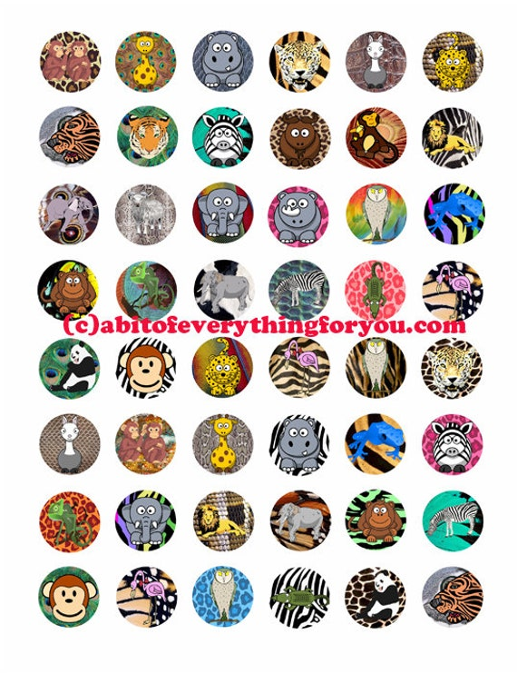 cartoon animals patterns clipart clip art digital download collage sheet 1 inch circles graphics images pendant jewelry making printables