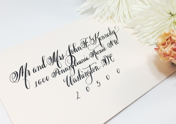 Hand written calligraphy envelopes envelope addressing