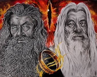 """Paper-themed portrait """"The Lord of the Rings"""" with Gandalf the Grey and Gandalf the White"""