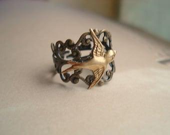 Sparrow Brass Ring Bird Filigree Ring Bird Brass Ring Bird Jewelry Statement Ring Adjustble Brass Ring