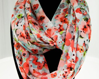Mint Blue and Red Floral Infinity Scarf