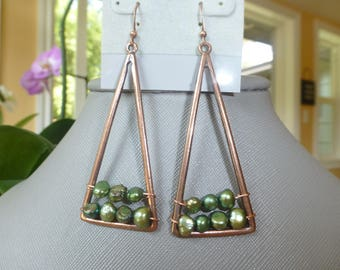 Boho Style Copper and Green Pearl Earrings
