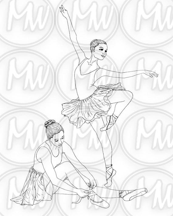 Bailarina baile para imprimir colorear página sello