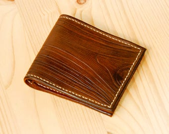 Wood texture leather wallet. Free shipping.