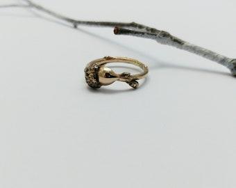Bronze Twig and Acorn ring, Bronze jewelry, Botanical ring, Nature ring, Woodland jewelry, Acorn Jewelry, Oak Tree, Handmade, Minimalist