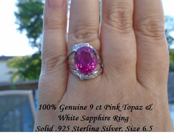 Pink Topaz & White Sapphire Ring 9 cts
