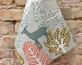 Grey towel with wild animals and trees,Scandinavian Towel, Animals Towel, 100% Flax Kitchen Towel, Scandinavian design