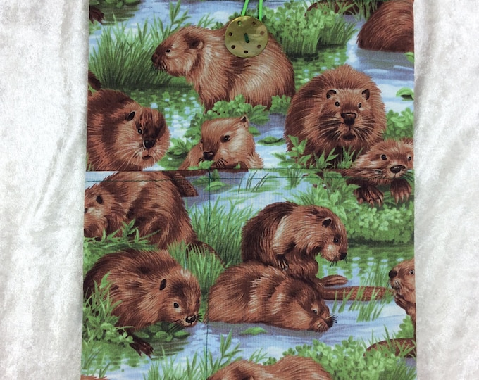 Handmade Tablet Case Cover Pouch iPad/Kindle LARGE Beavers