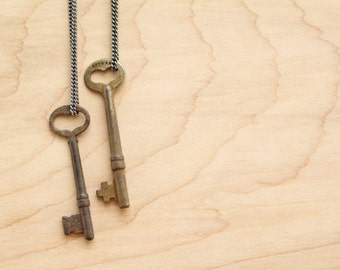"""Heart Skeleton Key Necklace - 24"""" or 36"""" or CUSTOM"""" - Antiqued Brass or Gunmetal Steel Chain - Repurposed - Authentic - Love"""