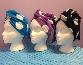 Personalized Hair Turban With Polka Dots Made Just For You With Your Monogram-FREE SHIPPING