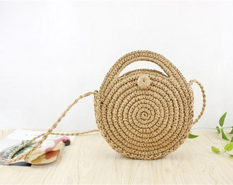 2018 Summer Women Durable Straw Weave Beach Bags Female Linen Woven Bucket Bag Grass Casual Tote Handbags Knit Rattan Bags