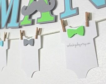 Onesie banner. Mustache party Onesie banner. Bowtie banner. First birthday. Little Man baby shower. Little man birthday mustache decor