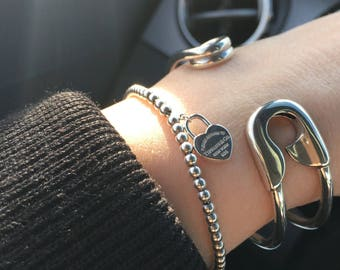Sterling SAFETY PIN BRACELET Solid 925 Sterling Silver Made in America Statement Bracelet
