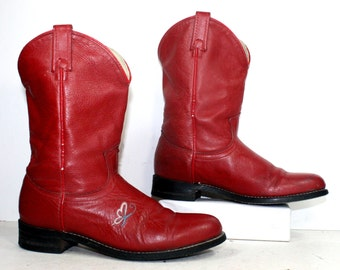 Vintage acme Roper cowboy mid calf womens red cow boy cow girl Leather western fashion boots 6.5 B M