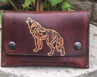 Tobacco leather Celtic Wolf, chocolate brown decor
