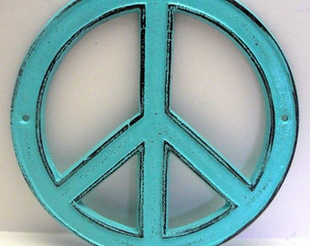 Peace Sign Aqua Turquoise Cast Iron Circle Wall Decor Rustic Retro Funky 70's Style Shabby Elegance Distressed Weathered Wall Art Sign