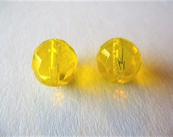 12 mm yellow Czech glass beads Canary 2 beads for earrings set