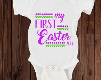 Infant Easter outfit, First Easter, Easter bodysuit for girl, Easter flowers, Easter outfit, Baby's 1st Easter, Easter and Spring flowers