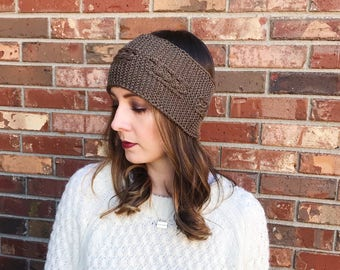 Chocolate Cable Knit Ear Warmer | Cable Knit Headband | Knit Headband | Warm Headwrap | Winter Headband | Ready to Ship | AuntBarbsBands