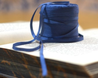200 yard roll of blue small silk ribbon