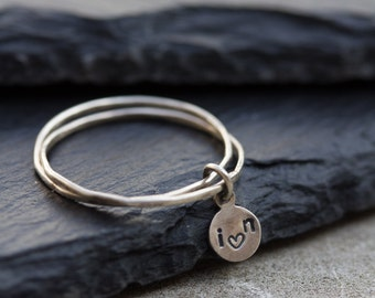 2 tiny bands Love ring - Sterling silver stackable ring, initial ring, personalized