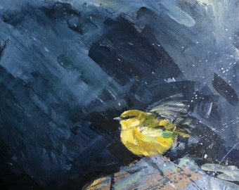 FINE ART PRINT A2 size from original oil painting 'Warbler in Rain' By Laura Andrew - Signed
