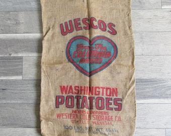 Vintage Washington State Potato Sack, Burlap Bag, Gunney Sack with Heart Graphics, Columbia Basin