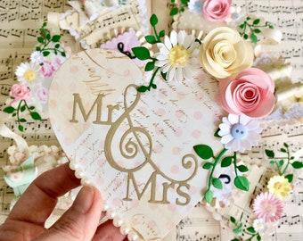 Mr & Mrs decoration, wedding gift, heart