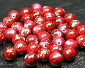 50 Red Speckled Acrylic Splatter Beads - 10mm Metallic Splash Paint Spotted Gold Black White Cherry Ruby Garnet Apple Crimson Scarlet Wine