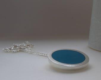 Round Silver Pendant - Teal Blue Resin Pendant - Colour Pop - Circle Pendant - Teal jewellery - Pop Pendant